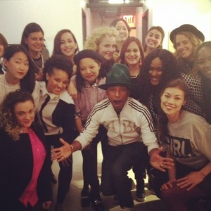 Pharell backstage with his all female orchestra
