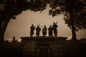 I asked the bagpipers to stand on this mausoleum at The Dewitt Clinton Circle when guests entered.