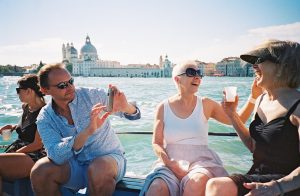 Guests enjoying some wine in Venice